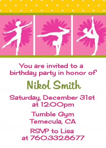 gymnastics birthday party invitations  candles and favors, Birthday invitations