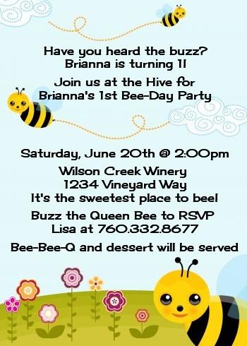Happy Bee Day Birthday Party Invitations