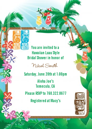 Hawaiian luau bridal shower invitations candles and favors hawaiian luau bridal shower invitations invitation examples stopboris Gallery