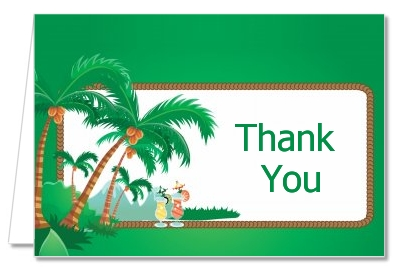 Bridal Shower Thank You Cards Hawaiian Luau Thank You Notes