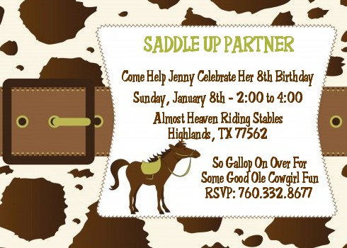 Horse birthday party invitations candles and favors horse birthday party invitations stopboris Gallery