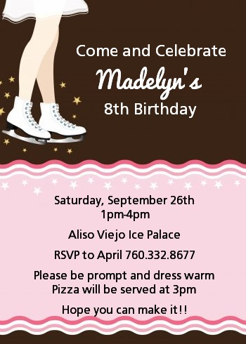 Ice Skating Birthday Party Invitations Candles and Favors