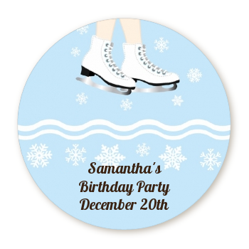 Ice Skating with Snowflakes - Round Personalized Birthday Party Sticker Labels