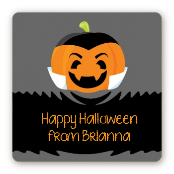 Jack O Lantern Vampire - Square Personalized Halloween Sticker Labels