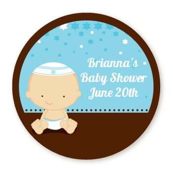 Jewish Baby Boy - Round Personalized Baby Shower Sticker Labels