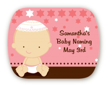 jewish baby girl personalized baby shower rounded corner stickers