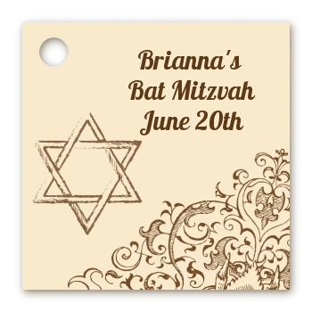 Jewish Star of David Brown & Beige - Personalized Bar / Bat Mitzvah Card Stock Favor Tags