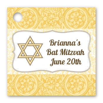 Jewish Star of David Yellow & Brown - Personalized Bar / Bat Mitzvah Card Stock Favor Tags