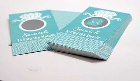 Engagement Ring Aqua - Bridal Shower Scratch Off Tickets