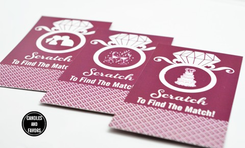 Engagement Ring Maroon - Bridal Shower Scratch Off Tickets