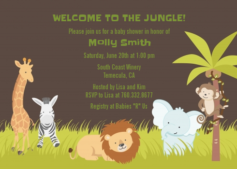 Jungle Safari Party Baby Shower Invitations Candles and Favors