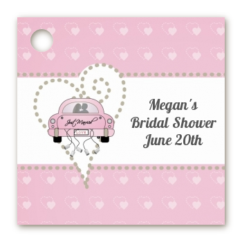 just married personalized bridal shower card stock favor tags
