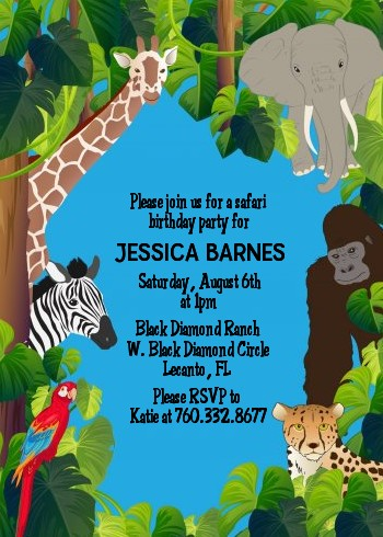 King Of The Jungle Safari Baby Shower Invitations