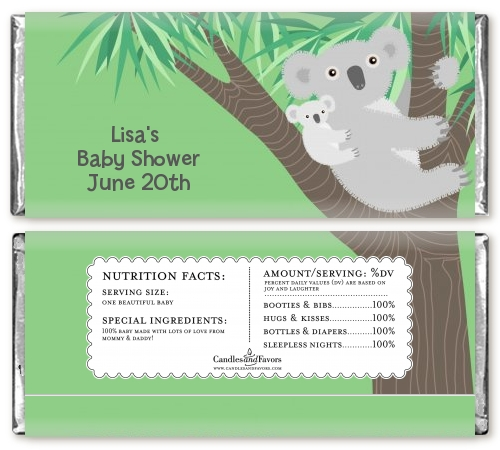 Koala Bear Baby Shower Candy Bar Wrappers Candles Favors