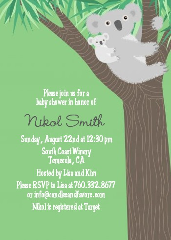 Koala Bear Baby Shower Invitations Candles and Favors