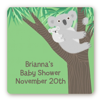Koala Bear - Square Personalized Baby Shower Sticker Labels