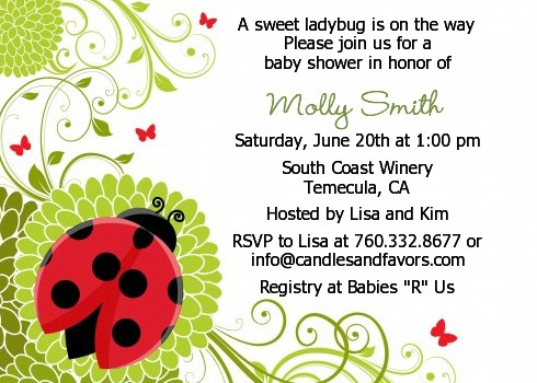 Ladybug baby shower invitations candles and favors ladybug baby shower invitations solutioingenieria Choice Image