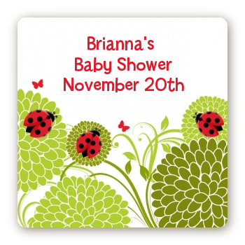 Ladybug - Square Personalized Baby Shower Sticker Labels