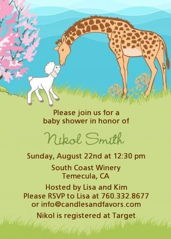 Lamb giraffe baby shower invitations candles and favors lamb giraffe baby shower invitations filmwisefo