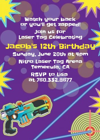 laser tag birthday party invitations | candles and favors, Party invitations