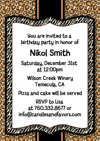 leopard & zebra print birthday party invitations | candles and favors, Birthday invitations