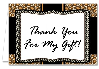 Leopard & Zebra Print - Birthday Party Thank You Cards