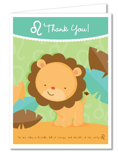 Baby Shower Thank You Cards Lion Leo Horoscope Thank