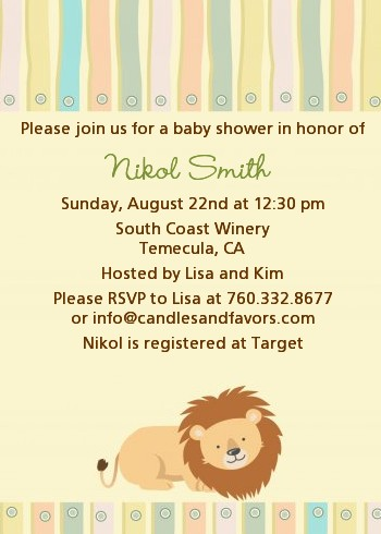 Lion Baby Shower Invitations Candles and Favors