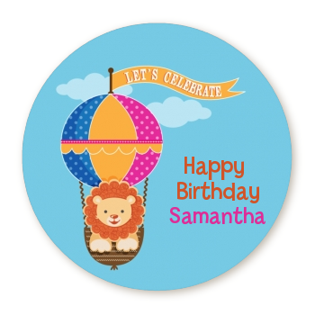 Lion - Round Personalized Birthday Party Sticker Labels
