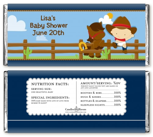 Little Cowboy Baby Shower Candy Bar Wrappers Candles