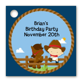 Little Cowboy - Personalized Birthday Party Card Stock Favor Tags