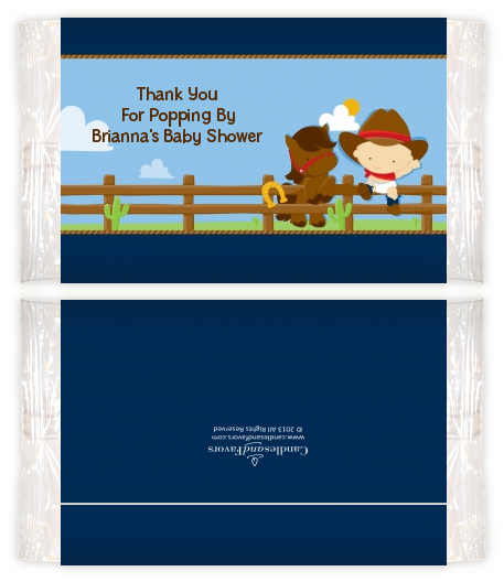 Little Cowboy Baby Shower Popcorn Wrappers Baby Shower Popcorn