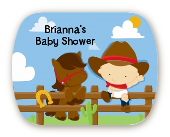 Little Cowboy - Personalized Baby Shower Rounded Corner Stickers