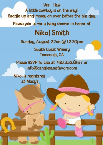 little cowgirl baby shower invitations  candles and favors, Baby shower invitations