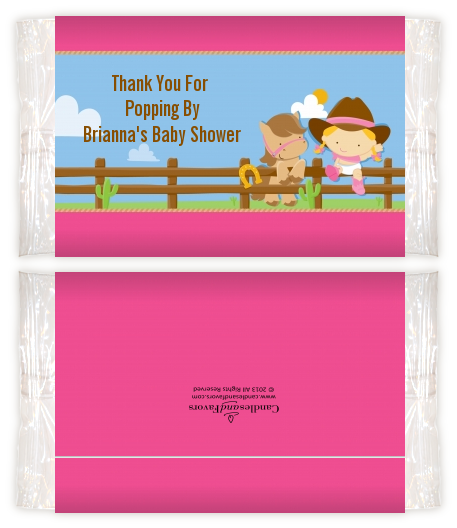 Little Cowgirl Baby Shower Popcorn Wrappers Baby Shower Popcorn