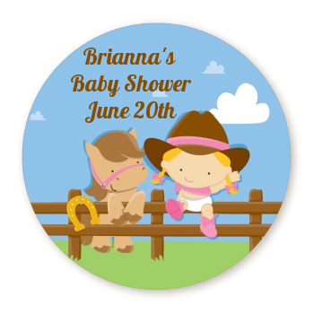 Little Cowgirl - Round Personalized Baby Shower Sticker Labels