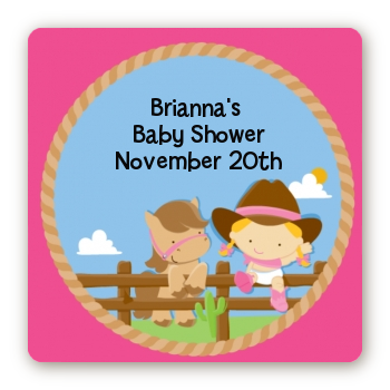 Little Cowgirl - Square Personalized Baby Shower Sticker Labels