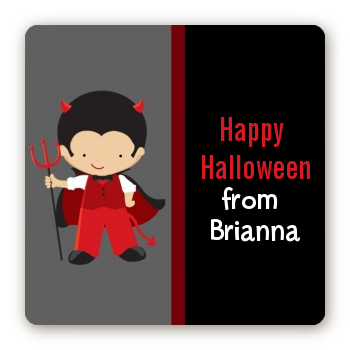Little Devil - Square Personalized Halloween Sticker Labels