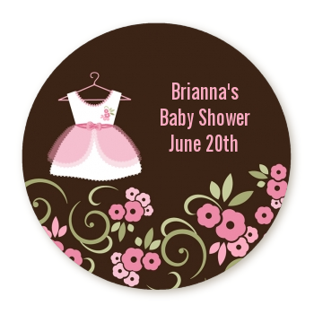 Little Girl Outfit - Round Personalized Baby Shower Sticker Labels