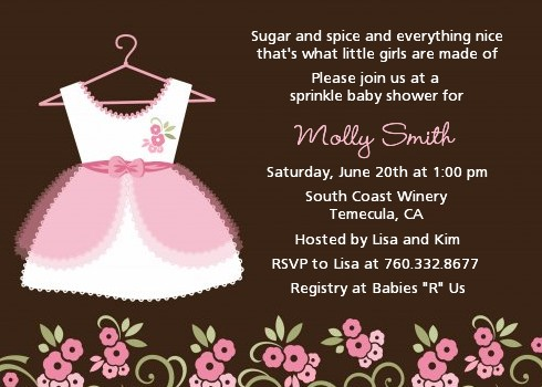 Little Girl Outfit Baby Shower Invitations Candles and Favors