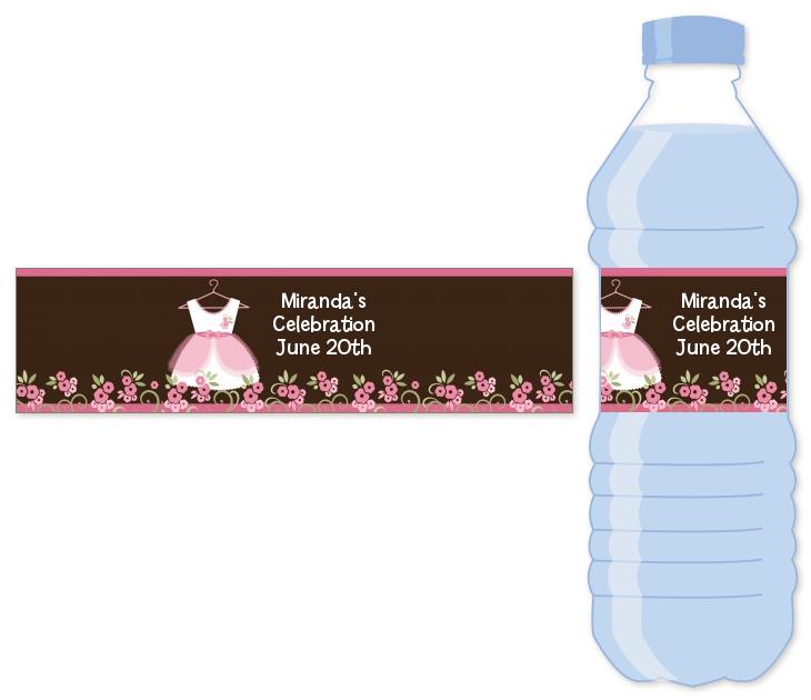 Little Girl Outfit Water Bottle Label Baby Shower Water Bottle
