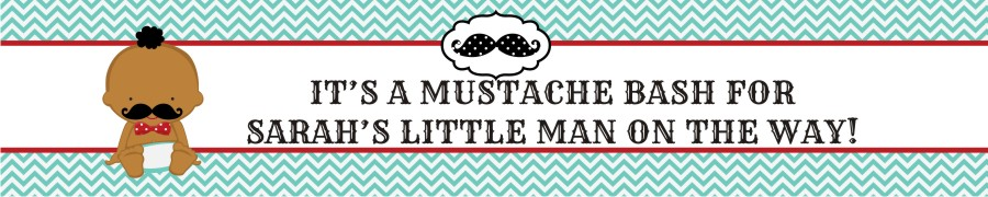 Little Man Mustache - Personalized Baby Shower Banners Caucasian