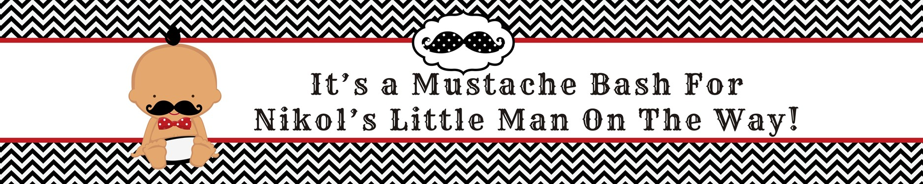 Little Man Mustache Black/Grey - Personalized Baby Shower Banners Caucasian