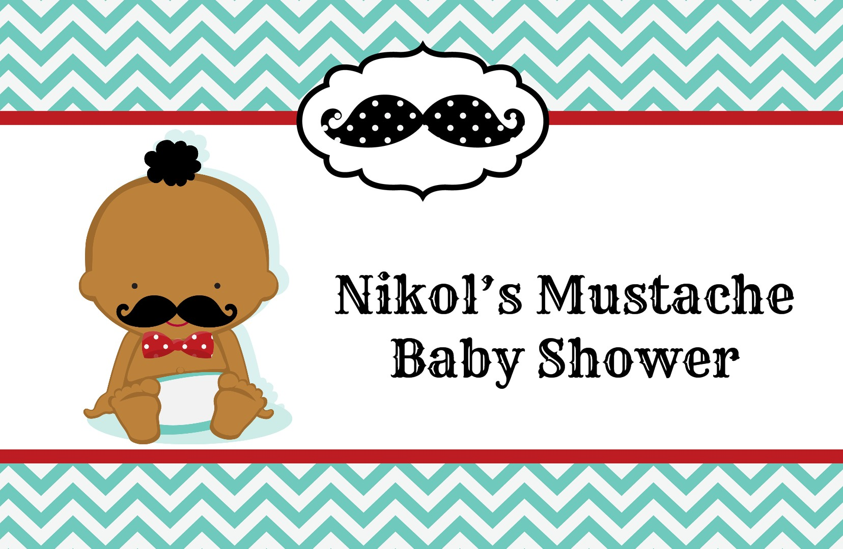 Little Man Mustache - Personalized Baby Shower Placemats Caucasian