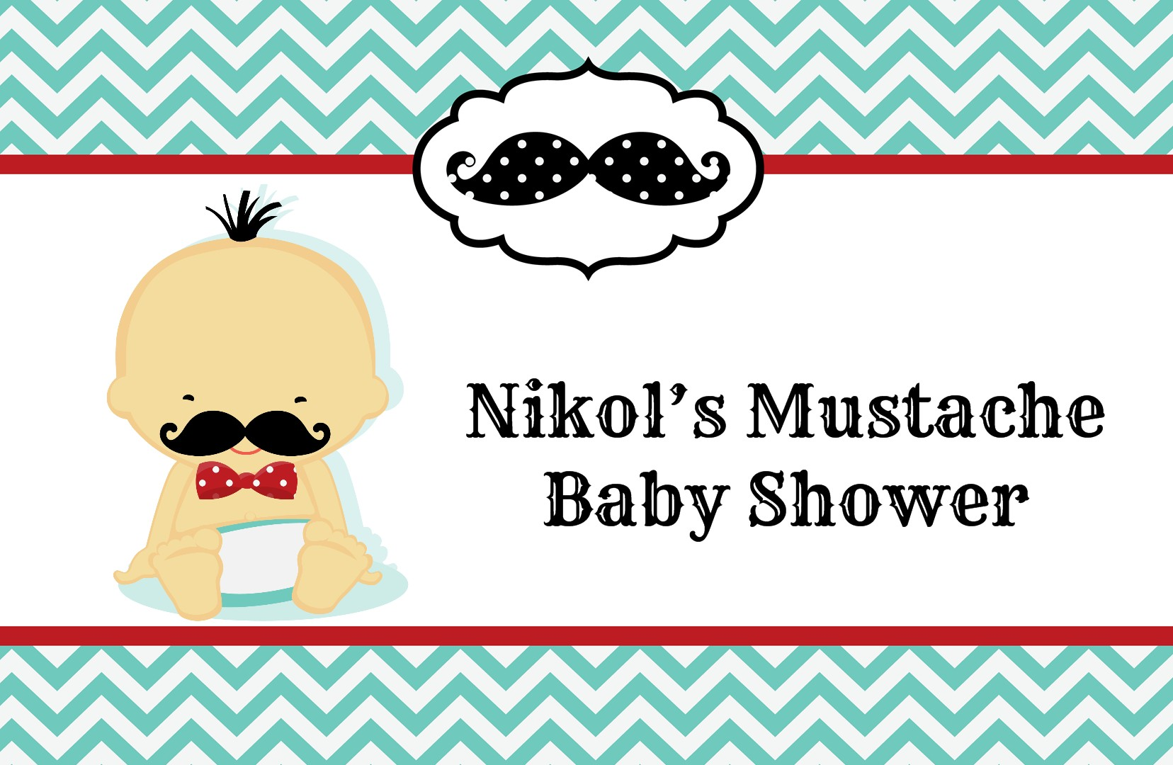 ... Little Man Mustache   Personalized Baby Shower Placemats Caucasian ...