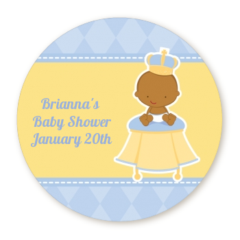 Little Prince African American - Round Personalized Baby Shower Sticker Labels