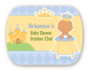 Little Prince Hispanic - Personalized Baby Shower Rounded Corner Stickers