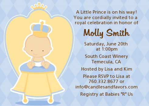 little prince baby shower invitations candles and favors