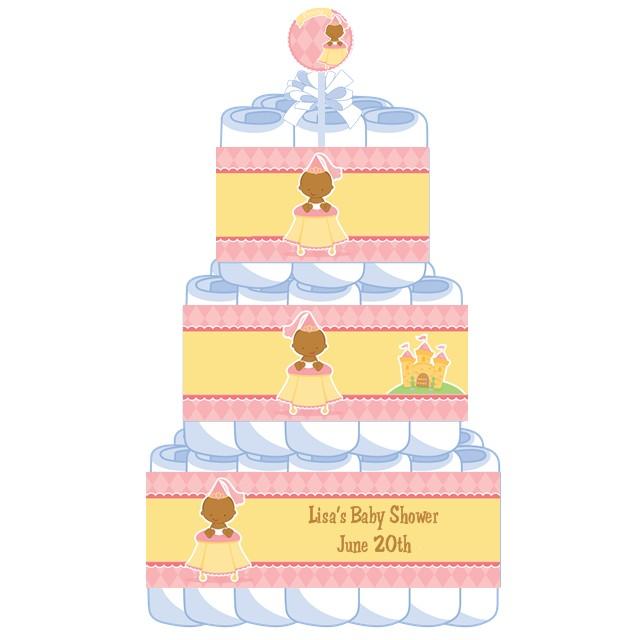 3 tier Little Princess African American Baby Shower Diaper ...
