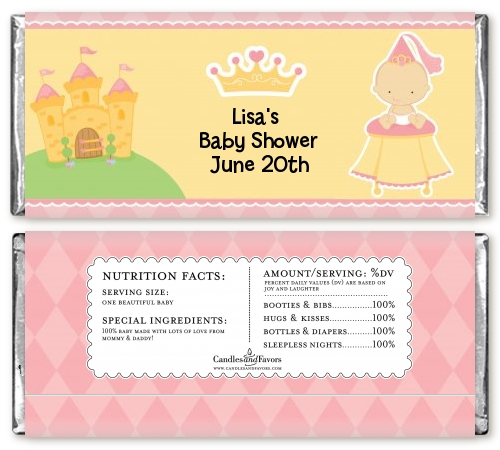 little princess baby shower candy bar wrappers candles favors